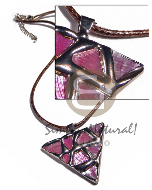 Triangle 50mm glistening pink abalone Unisex Necklace