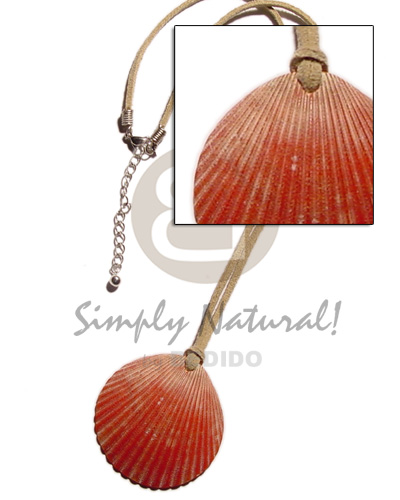 hand made Clam red palium pigtim shell Unisex Necklace
