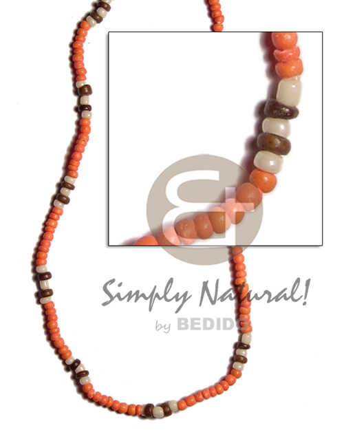 2-3mm orange nat brown combination coco Unisex Necklace