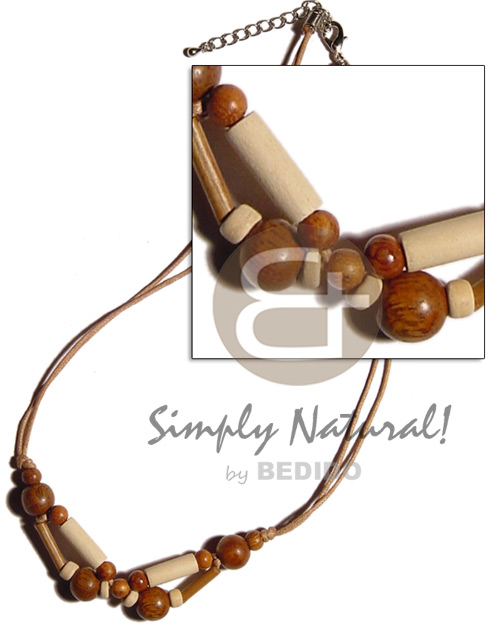 Wood beads tube on Unisex Necklace