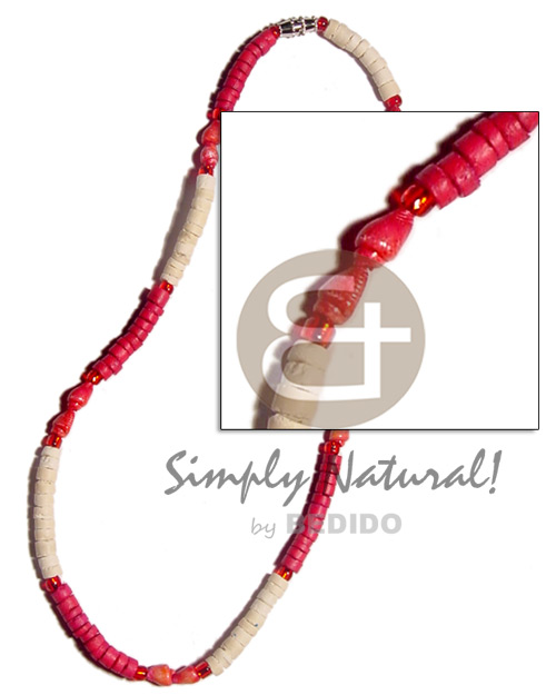 Red bleach 4-5mm coco heishe Unisex Necklace