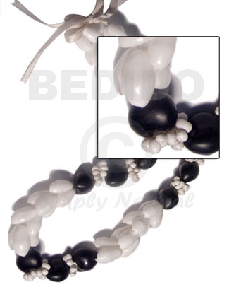 "beaded white bubbleshells / 28""   adjustable ribbon maximum length of 50in - Womens Necklace"