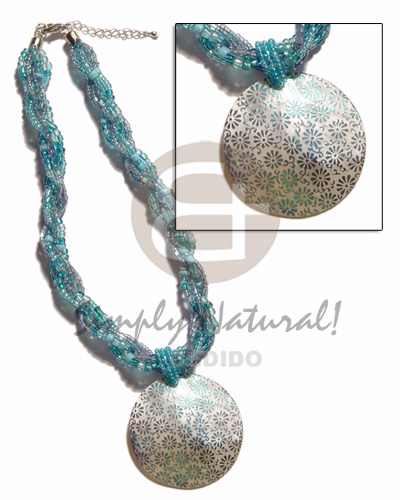 12 rows aqua blue twisted Womens Necklace