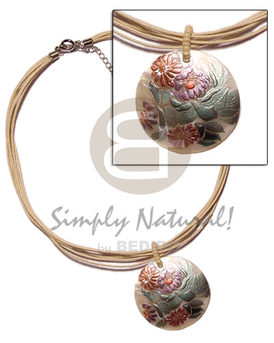 hand made 6 layer beige wax cord Womens Necklace