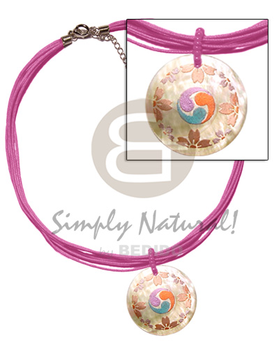 6 layer pink wax cord Womens Necklace