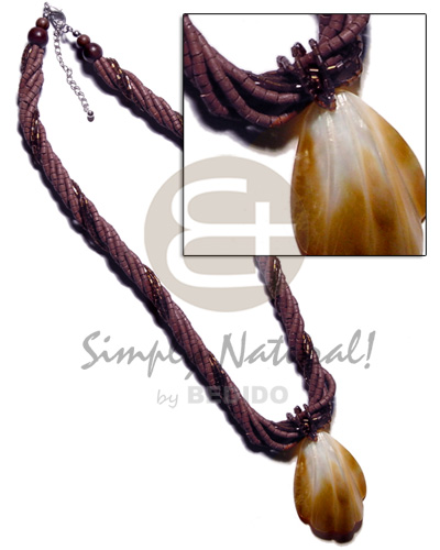 5 rows warm brown 2-3mm Womens Necklace