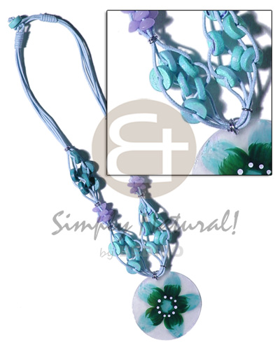 4 layer knotted aqua blue Womens Necklace