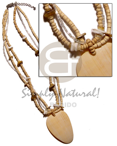3 layet coco natural 2-3mm Womens Necklace