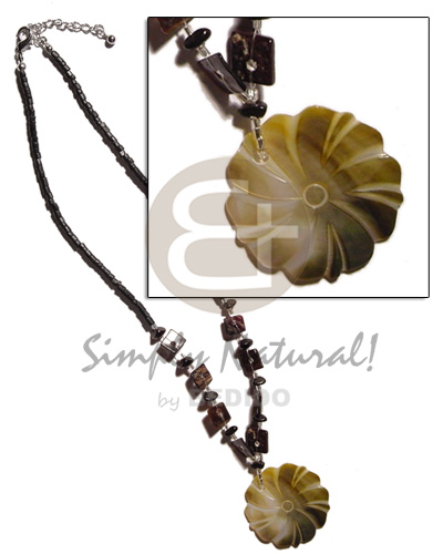 2-3mm black coco heishe Womens Necklace