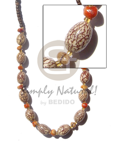 Oval salwag corals brown Womens Necklace