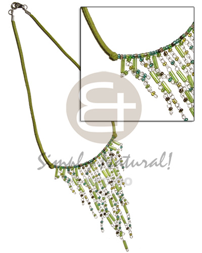 hand made Dangling green tones glass beads Womens Necklace