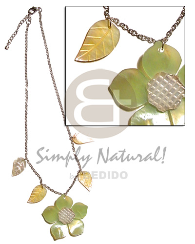 45mm lime green hammershell flower Womens Necklace