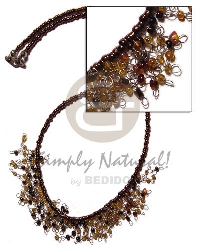 Glass beads in dark brown Womens Necklace