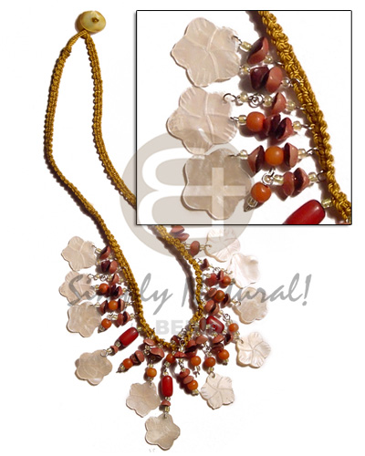 Golden macrame dangling 15mm Womens Necklace