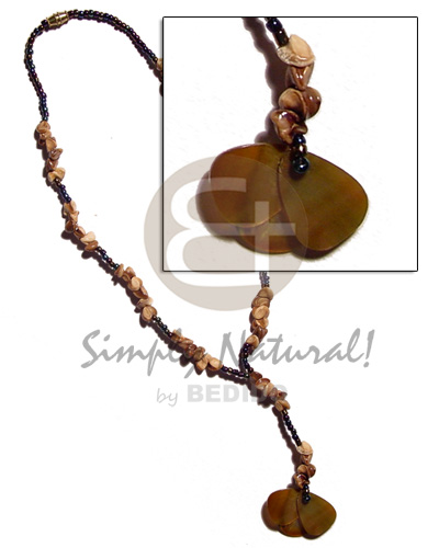 Dangling 3 overlapping 25mm brownlip Womens Necklace
