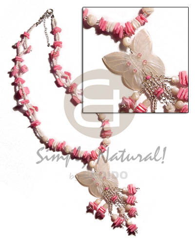 White rose pink white rose combination Womens Necklace