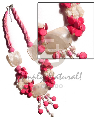 3 layers twisted pink 2-3mm Womens Necklace