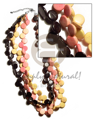 3 layers 10mm black yellopeach coco Womens Necklace