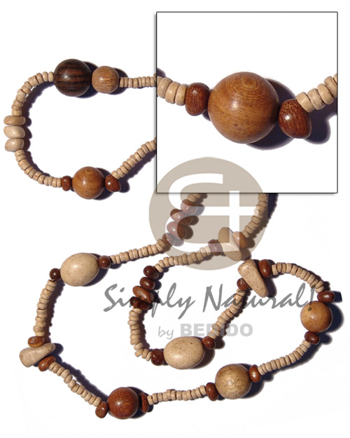 """kalandrakas""- asstd. wood beads per Womens Necklace"