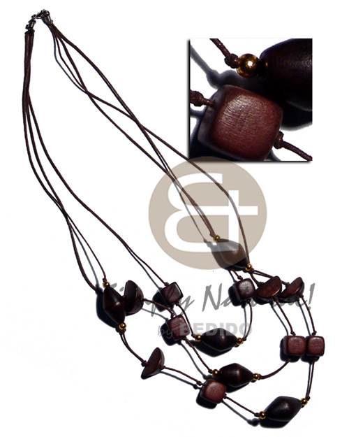 3 graduated rows dark brown Womens Necklace