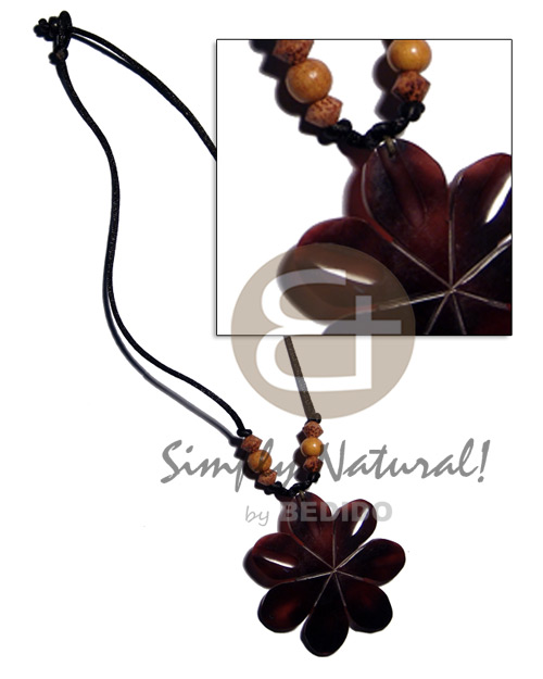 60mm flower black tab shell Womens Necklace