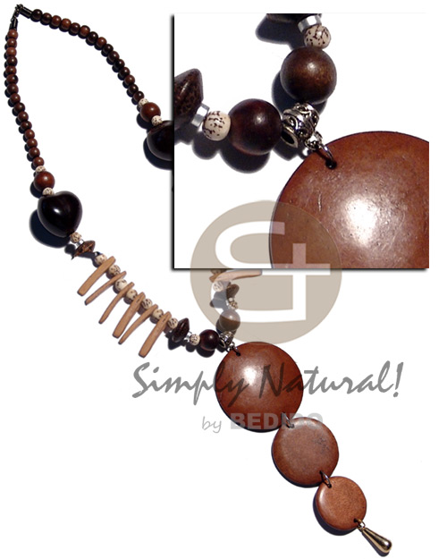 Round woods beads brown Womens Necklace