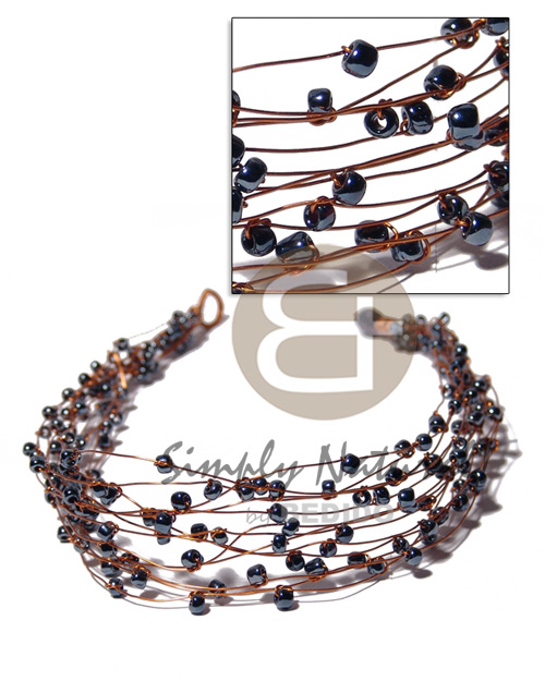 13 rows copper wire choker Womens Necklace