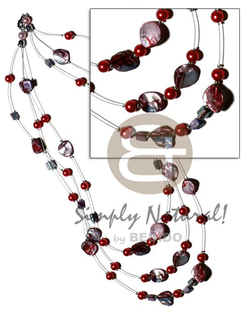 Floating red kabibe shell nuggets Womens Necklace