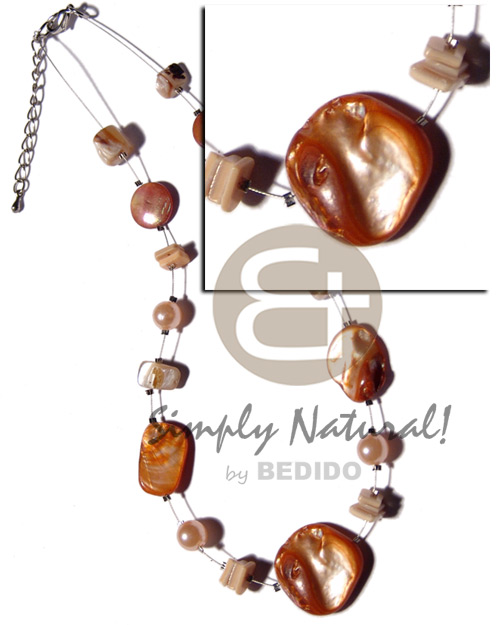 hand made Kabibe shell nuggets in magic Womens Necklace