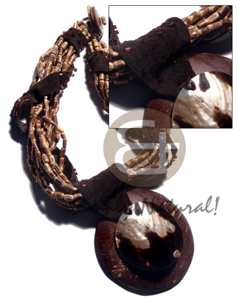 10 layers sig-id brown Womens Necklace