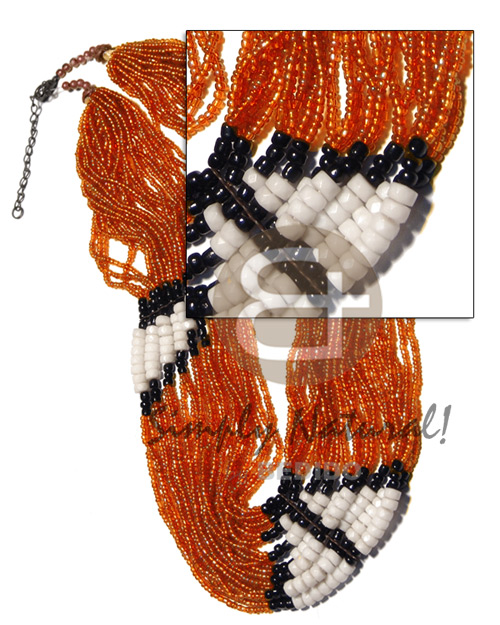 27 rows orange glass beads Womens Necklace
