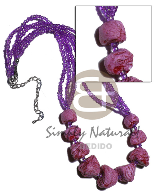 3 layers glass beads Womens Necklace