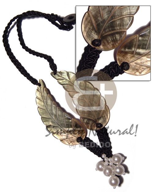 hand made Black macrame 2pcs. 75mmx28mm Womens Necklace