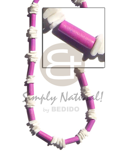 Pastel lavender wood tube white Womens Necklace