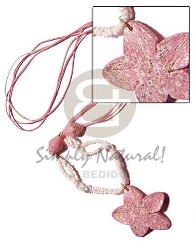 3 layers pink crème wax cord Womens Necklace
