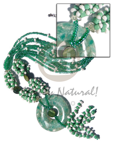 6 rows green glass beads Womens Necklace