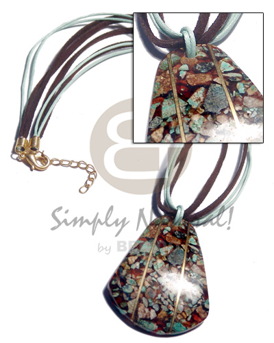 3 layers brown/mint green wax cord/leather combination  crushed limestones in 55mmx45mm resin pendant  brass wire / 18in - Womens Necklace