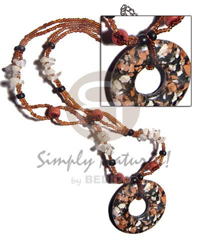 hand made 55mm round mop skin Womens Necklace