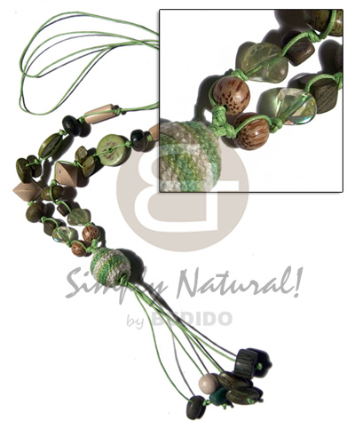 2 layers knotted wax cord Womens Necklace