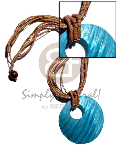 45mm round aqua blue kabibe shell pendant on 2 layers 2-3mm coco heishe/2layers wax cord/2layers cut glass beads in brown tones - Womens Necklace
