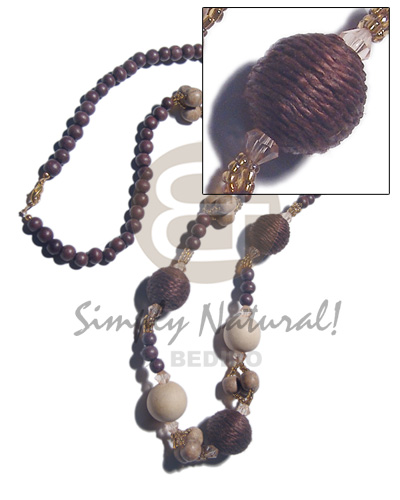 8mm round wood beads Womens Necklace