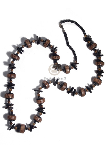 4-5mm coco Pokalet black, 20mmx8mm palmwood wheels  black coco sticks combination and gold balls accent / 32in - Womens Necklace