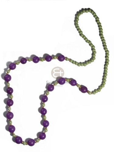 6mm wood round beads  in lime green  violet round wood beads combination / 30in - Womens Necklace