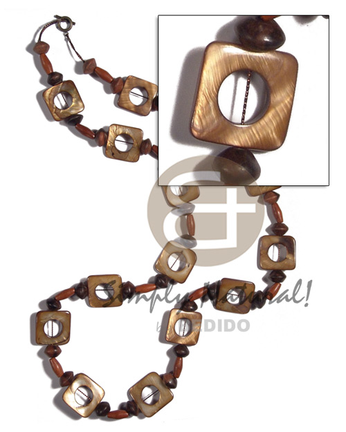 25mmx25mm square laminated golden amber kabibe shell ( 14 pcs.) in high gloss  wood beads accent / 34in - Womens Necklace