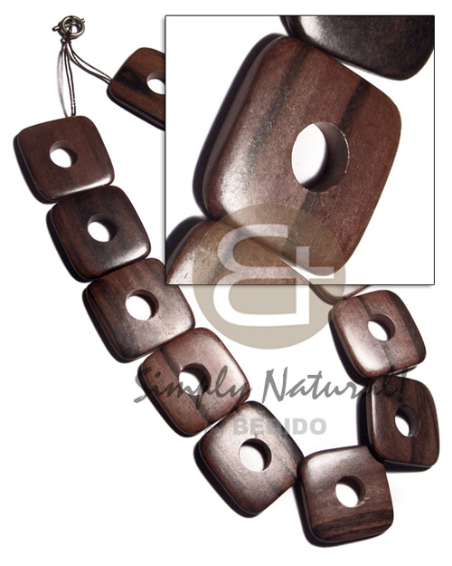 35mmx35mmx5mm square  round edges camagong tiger ebony hardwood face to face  12mm center hole   antique t-locks / 12 pcs. / 20in - Womens Necklace