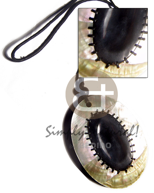 110mmx80mm chunky oval MOP in 4 weaved layers   10mm black resin backing and center oval 70mmx40mm black tab shell in continuous 3mm black wax cord / 26in - Womens Necklace