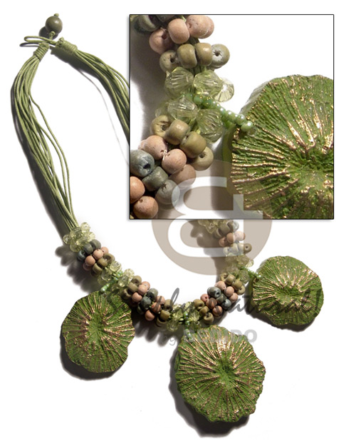 12 rows lime green wax Womens Necklace