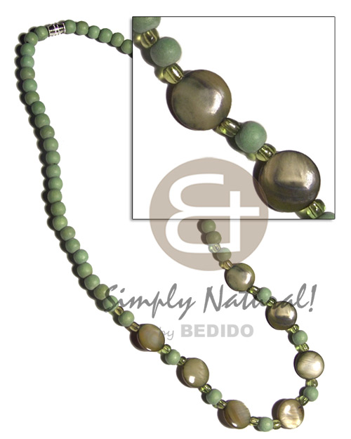 6mm light green wood beads Womens Necklace