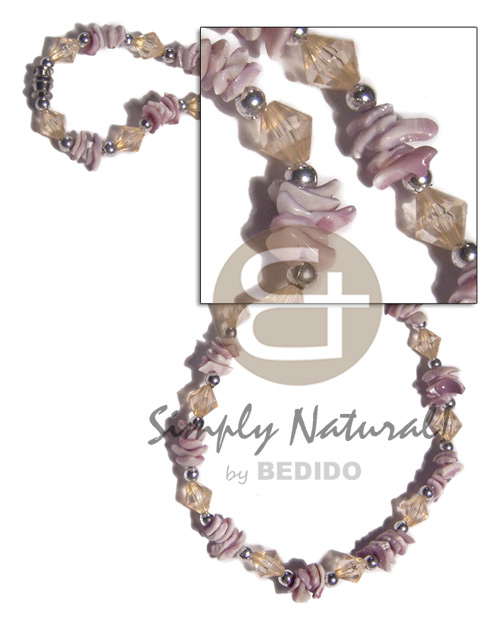 Violet oyster chips and acrylic Womens Necklace