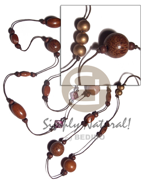 chunky wood beads in endless knotted wax cord  acrylic crystal accent / 50in - Womens Necklace